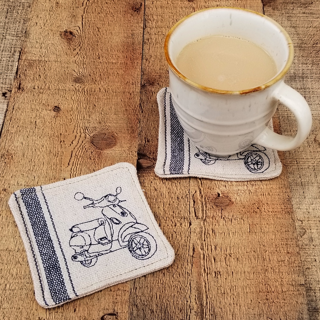 Handmade Mug Rug Coaster Vespa LX Scooter Gifts Feed Sack Set 2